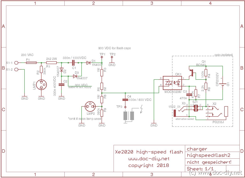 Diy Highspeed Flash Unit Neon Sign Transformer Schematic Photoflash Charger Schematics